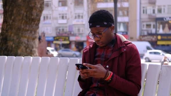 Black Young Man Smart Phone