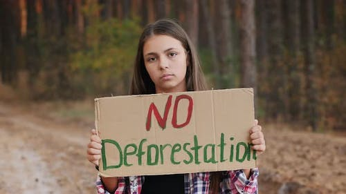 Teenage Girl with No Deforestation Poster