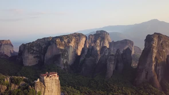 Cover Image for Valley of Meteora with Roussanou Monastery in Front