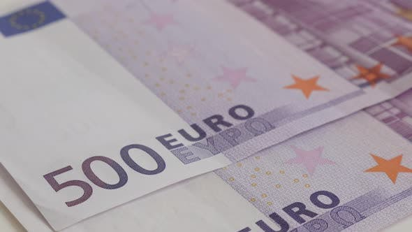 Thumbnail for Five hundred EU paper money background slow tilt 4K 2160p 30fps UltraHD footage - Row of 500 euro ba
