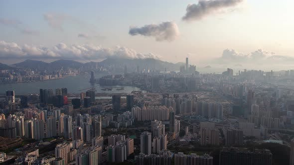 Thumbnail for Timelapse Hong Kong Districts at Blue Harbor Against Hills