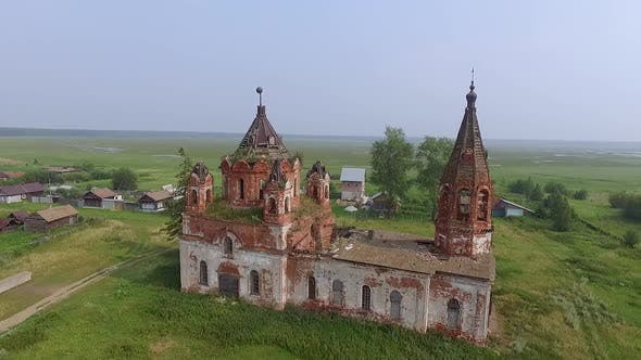 Aerial view of Old ruined abandoned church in a village 02