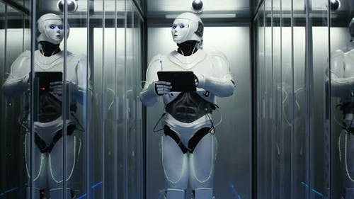 Futuristic Robot with Tablet in Server Room