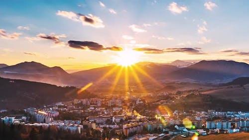 Sunset Sky in European City Landscape