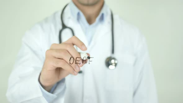 Thumbnail for Deaf, Doctor Writing on Transparent Screen