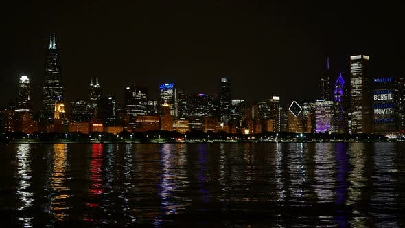 Thumbnail for Chicago Skyline Reflected on the Lake at Night Panoramic