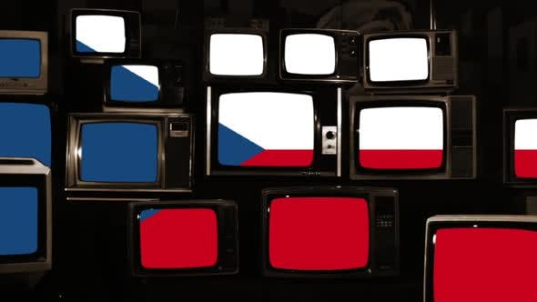 Thumbnail for Flag of the Czech Republic and Retro TVs. Sepia Tone.