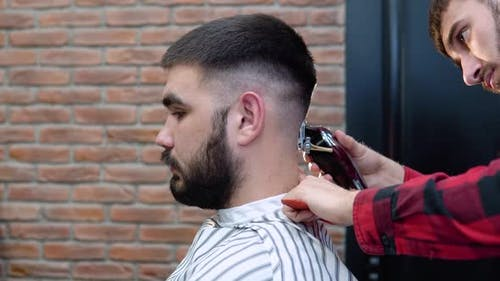 Barber Cuts a Hair Trimmer on the Back of the Client's Head