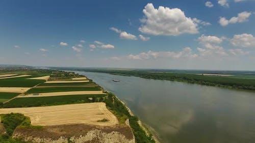 Fields and Danube River in Serbia
