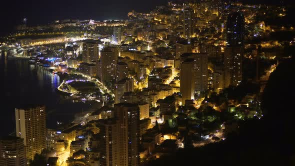 Panoramic view of large city-state located on French Riviera in Western Europe