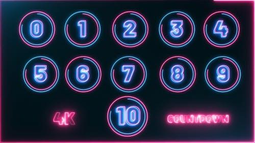 Neon Countdown 10 Second 4K