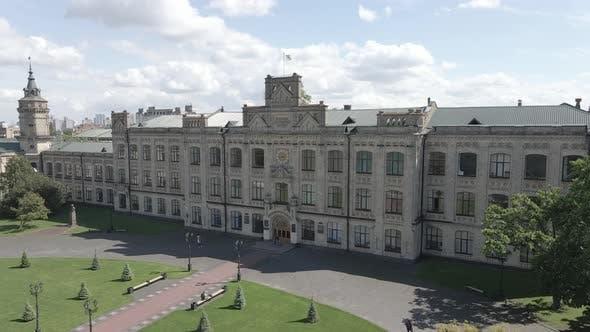 Architecture of Kyiv. Ukraine. Kyiv Polytechnic Institute. Aerial View. Slow Motion, Gray, Flat