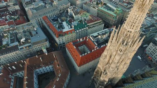 Aerial of Stephansdom and nearby buildings