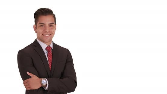Thumbnail for Happy smiling young Hispanic business professional standing on white background with copy space