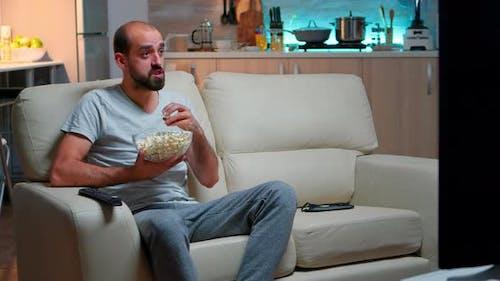 Caucasian Football Fan Watching His Team Winning