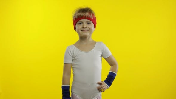 Thumbnail for Young Child in Sportswear Making Fitness Gymnast Home Exercises. Workout for Kids. Sporty Girl