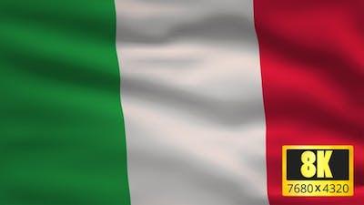 8K Italy Windy Flag Background
