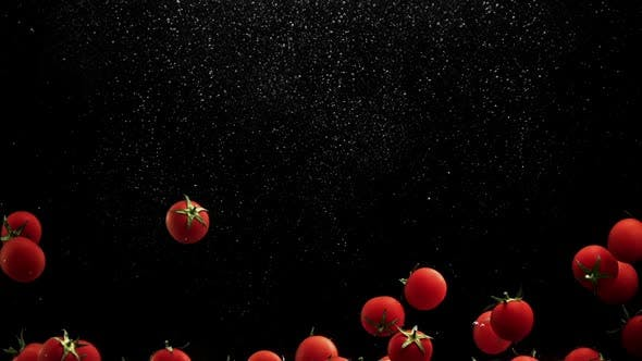 Thumbnail for Red Cherry Tomatoes Splash Water with Air Bubbles Black Background in