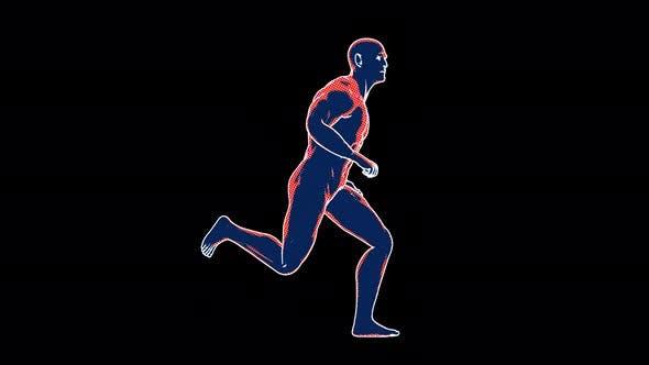 4K cartoon man running with alpha