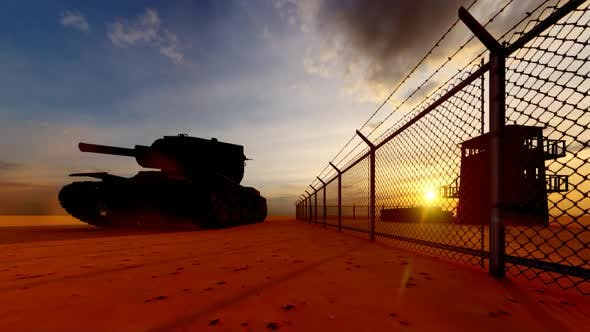 Thumbnail for Soldiers Guarding the Watchtower in Military Watchtower and Tank at Sunset