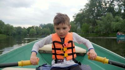 Boy Rowing Boat Children