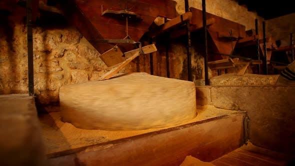 Thumbnail for Traditional stone mill processing grains into flour, in Dalmatia, Croatia