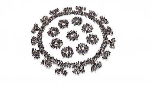 People forming Corona Virus shape