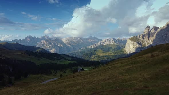 Drone Aerial View of Dolomites, Italy Alps