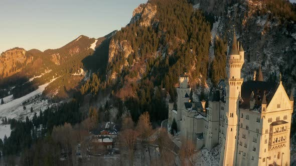 Thumbnail for Golden Hour at Neuschwanstein Castle in Bavaria, Germany - Aerial Footage