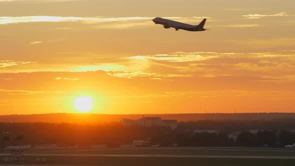 Thumbnail for Plane Taking Off at Sunset