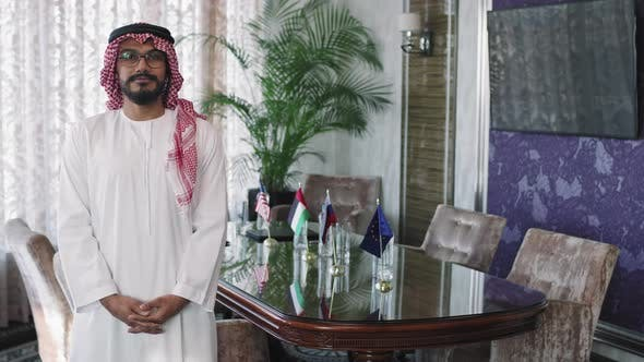 Portrait Of UAE Politician At Conference