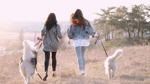 Thumbnail for Pretty Girls in Masks Are Walking with Dogs Outside in Nature