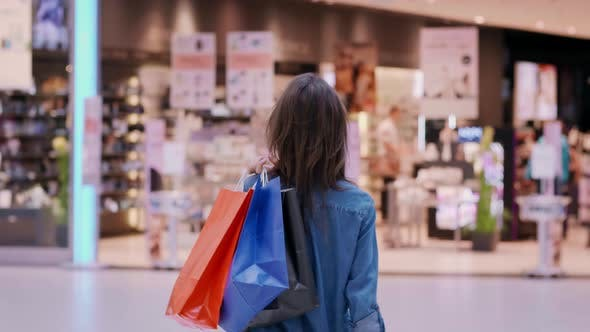 Rear view of woman with shopping bags in shopping mall