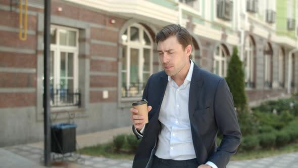 Thumbnail for Closeup Businessman Going To Work with Coffee . Man Going To Job with Drink