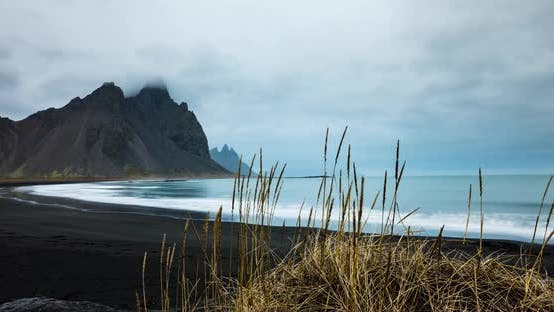 Thumbnail for Time lapse of black sand beach in Iceland