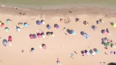 Top Shot of Crowded Summer Beach with Colorful Umbrellas