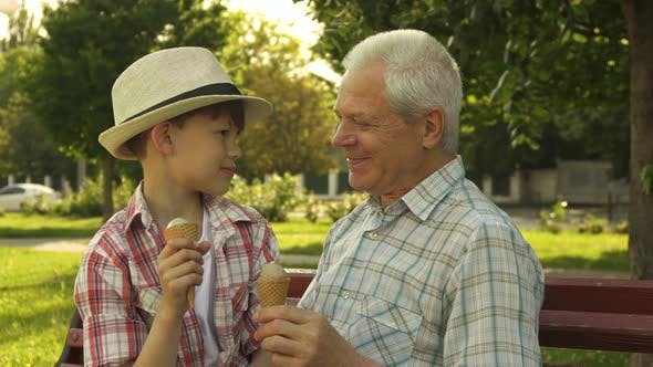 Thumbnail for Senior Man and His Grandson Eat Ice Cream on the Bench