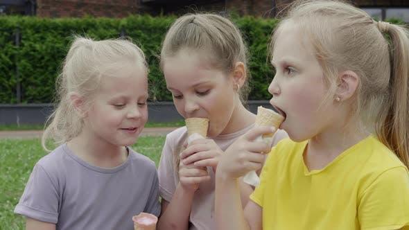 Children Eat Ice Cream Summer