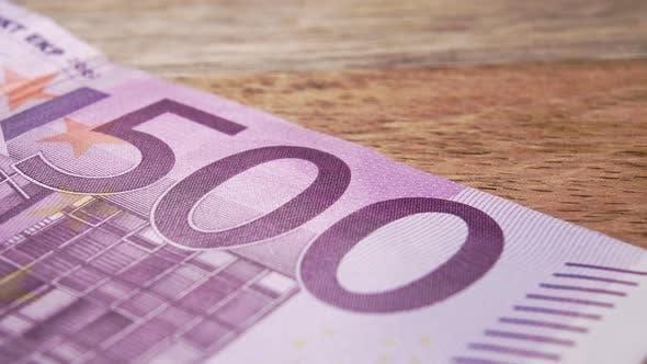 European money five hundred euros. Paper cash banknote close up