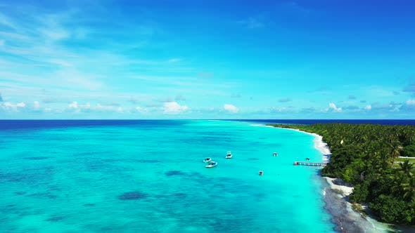 Thumbnail for Daytime flying abstract view of a summer white paradise sand beach and blue sea background in best q