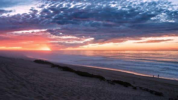 Sunset Sky in New Zealand Ocean Beach Landscape