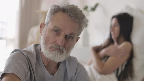 Thumbnail for Close-up Face of Handsome Senior Grey-haired Man Looking at Camera. Mature Confident Caucasian Man