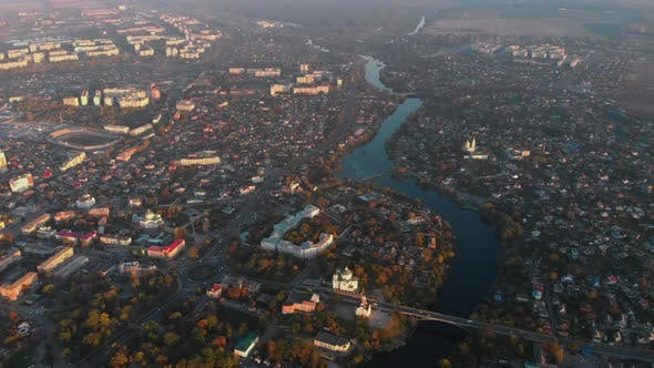 Cover Image for Aerial Panoramic Shot of Small European City Placed on River Banks, Drone Flying High