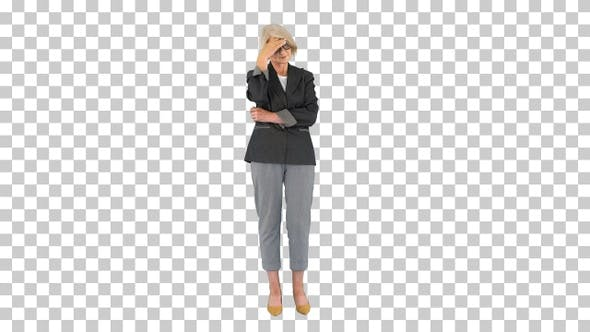 Senior grey-haired woman wearing formal, Alpha Channel