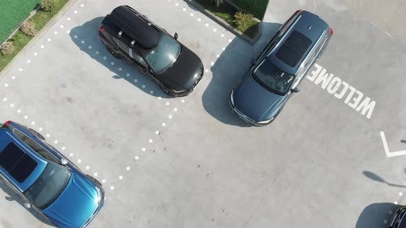 Thumbnail for Aerial view of Volvo XC90 parking with other model Volvo cars.