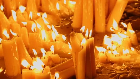 Thumbnail for View on Beautiful Burning Candles at the Church, Place of Accident, Memorial