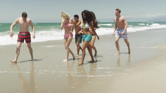 Thumbnail for Cool young adult friends walking on sandy beach