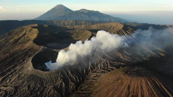 Clouds of smoke on Mount Bromo volcano, Indonesia.