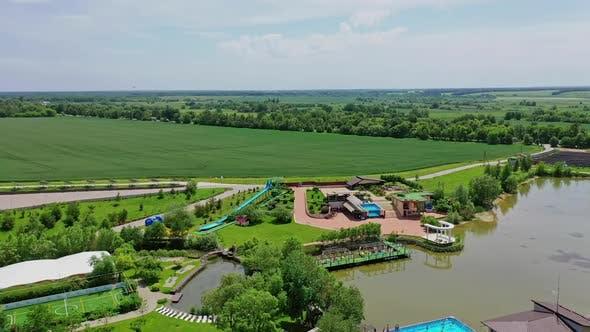 Aerial shooting of resort. Luxury resort aerial drone shot