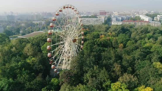 Thumbnail for Attraction Ferris Wheel in Amusement City Park Minsk Belarus, Aerial View